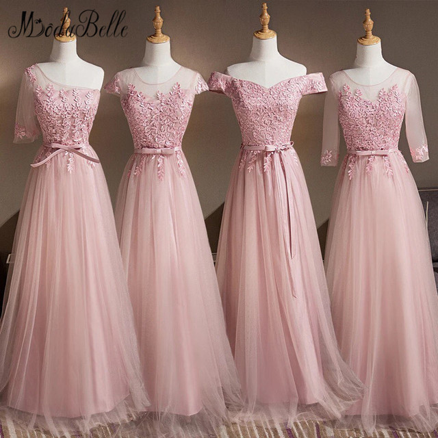 47f7b8ce881 modabelle 4 Styles Dusty Pink Long Bridesmaids Dresses For Women Robe Demoiselle  D honneur Wedding Party Dress Plus Size