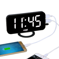 EAAGD Electronic LED Digital Desktop Decoration Alarm Clock With Dual USB Port For Phone Automatically Adjust