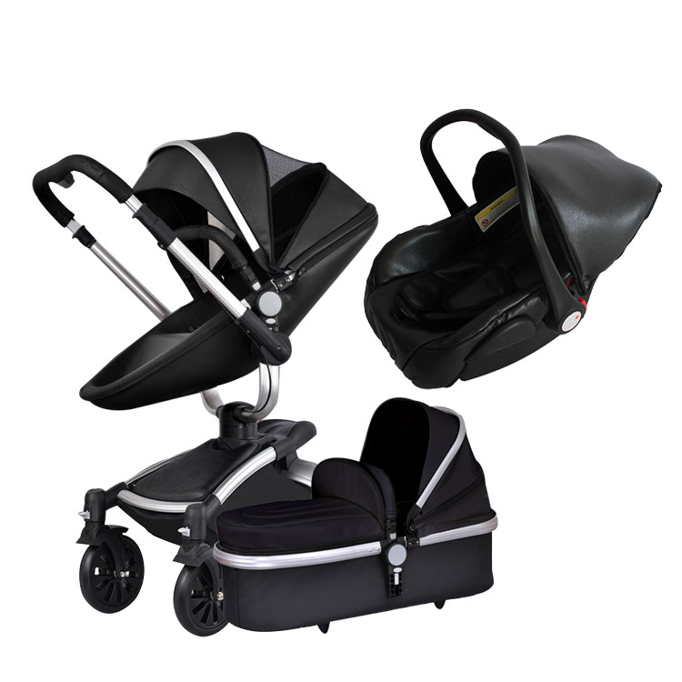 Aiqi  3 in 1 leather stroller  high quality baby seat newborn bag sliver frame aluminium  base lightweight strollers aiqi ultra light white frame good quality baby stroller baby umbrellacar boarding stroller accessories