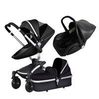 Aiqi 3 в 1 Кожа Коляска Высокое качество детское сиденье новорожденных сумка Щепка Рамка алюминиевое основание