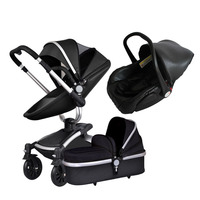 Aiqi 3 in 1 leather stroller high quality baby seat newborn bag sliver frame aluminium base