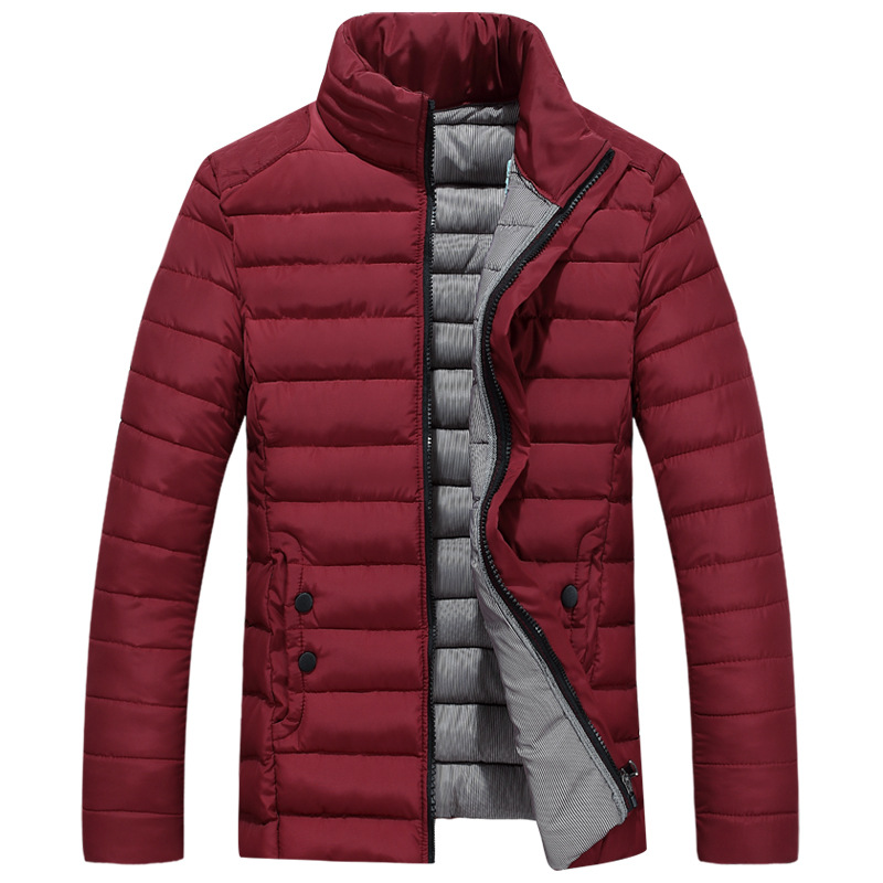 ФОТО  Male stand collar wadded jacket thickening winter casual outerwear male cotton-padded jacket male slim short design plus size