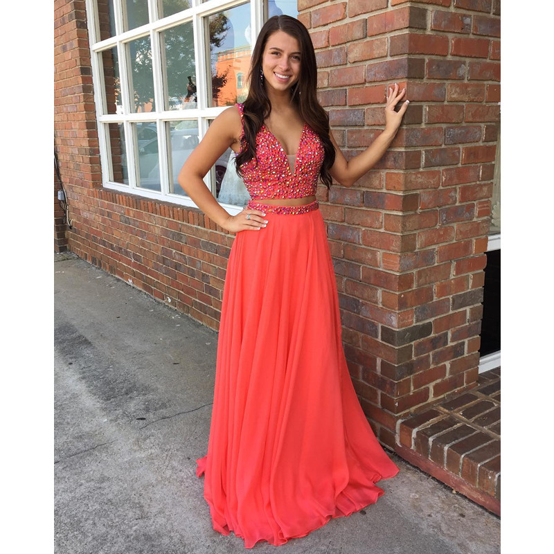 Sequins and Crystal Two Pieces Prom Dresses Coral Prom ...