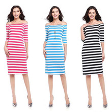 YOUNG VIVA Women Dresses Half Sleeve Off Shoulder Sexy Stripe Knitting Bodycon Dress l003