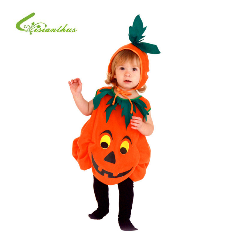 Children Halloween Costume Kids Pumpkin Outfit Clothes for Party Jumpsuits +Hat Fancy Clothing Set Stage Performance Dress halloween party pirate capain jack cosplay boy clothing halloween costume for kids children performance stage costumes