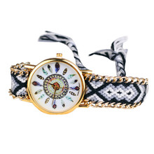 Women's Watch Leisure Fashion Feather Figure Weaving Lady Bracelet Table Top Gifts Stainless Steel wristwatches JY26
