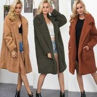 Chic Long Bomber Faux Fur Lapel Collar Jacket Fluffy Lamb Wool Coat Shaggy Cardigan Artificial fur Trench Coat Windbreaker