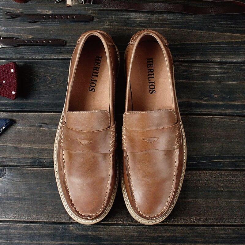 Véritable Pour Brown Brun Mocassins Slip Marque Top De Mycolens Hommes Chaussures Mens En Bateau Cuir Luxe Sur Casual xrBEdoQCWe