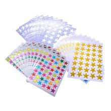 10/сумка Детские наклейки в упаковке с золотой штамповкой водонепроницаемый лазерный пластик пятиконечная звезда наклейки для поощрения учительницы хвалу