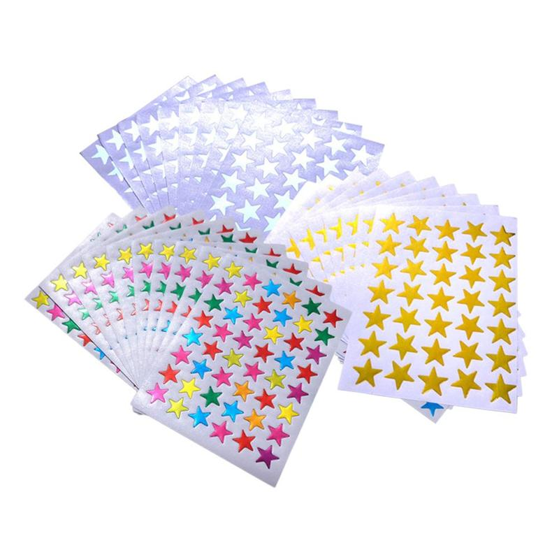 10/bag Children's Stickers Per Pack With Gold Stamping Waterproof Laser Plastic Five-pointed Star Award Stickers Teacher Praise
