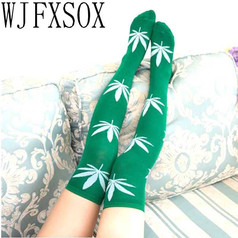 WJFXSOX Women Stockings Thigh High Sexy Harajuku Stockings Socks Weed Print Spandex Long Loose Knee High Socks For Ladies Meias