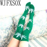 Wjfxsox meias femininas coxa alta sexy harajuku meias meias impressão erva daninha elastano longo solto joelho meias altas para senhoras meias