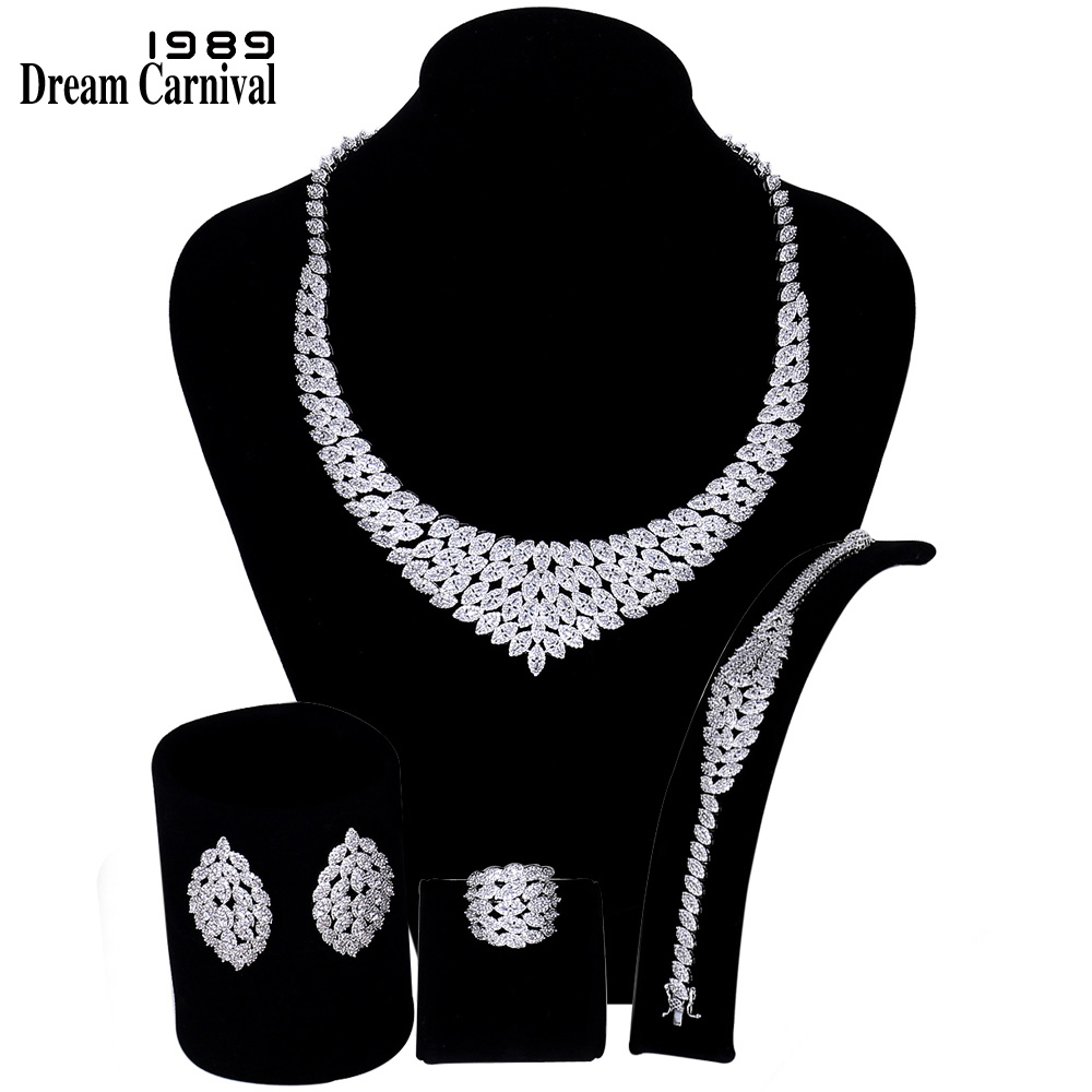 DreamCarnival 1989 New Arrived Luxury Jewellery Sets for Women Cubic Zircon Wedding Bijoux Middle East Dubai Hot Selling SN07527