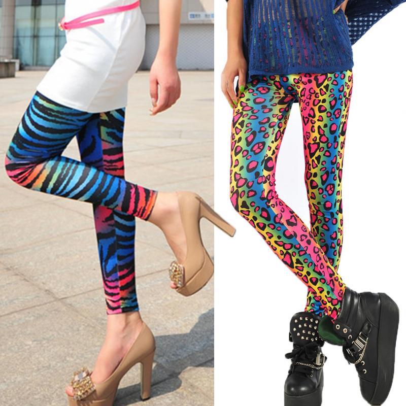 Fashion Womens Sex Lady Pants New Neon Leopard Striped -3564