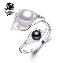 Fenasy anillos para las mujeres, 2017 nueva joyería de la perla natural de agua dulce de doble anillo, aliexpress moda muticolor blanco perla negro, caja