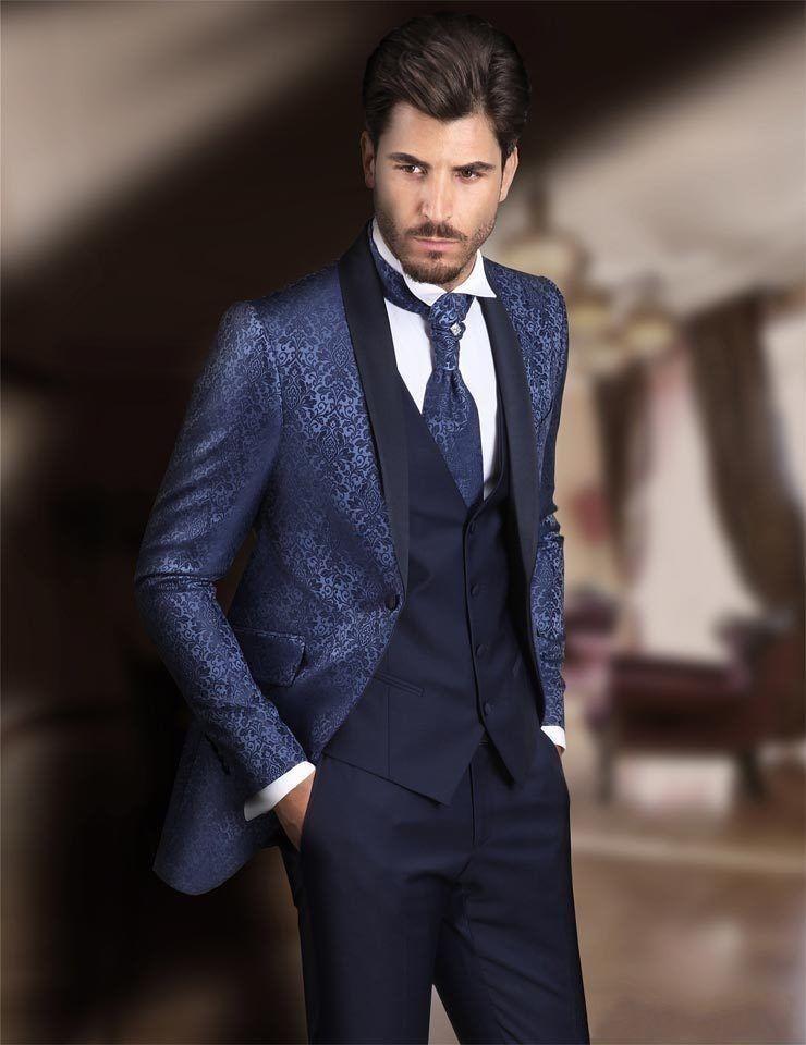 Handsome Groomsmen Wool Blend Groom Tuxedos Mens Wedding Dress Man Jacket Blazer Prom Dinner (Jacket+Pants+Tie+Vest) A73