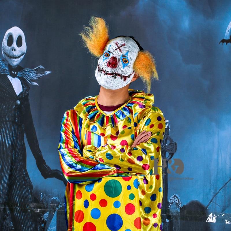 H&D Halloween Creepy Clown Mask- ը դեղին մազերով - Տոնական պարագաներ - Լուսանկար 3