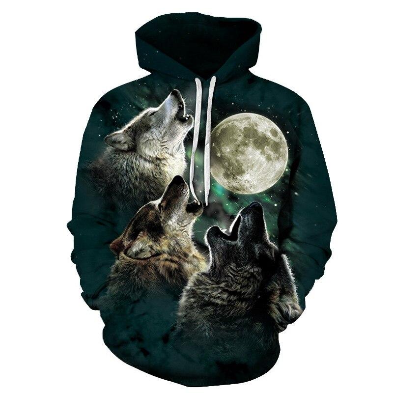 Hoodies Men 3D Wolves Planet Collision Autumn Men Casual Hoodie Shuttle Tracksuit Sweatshirt