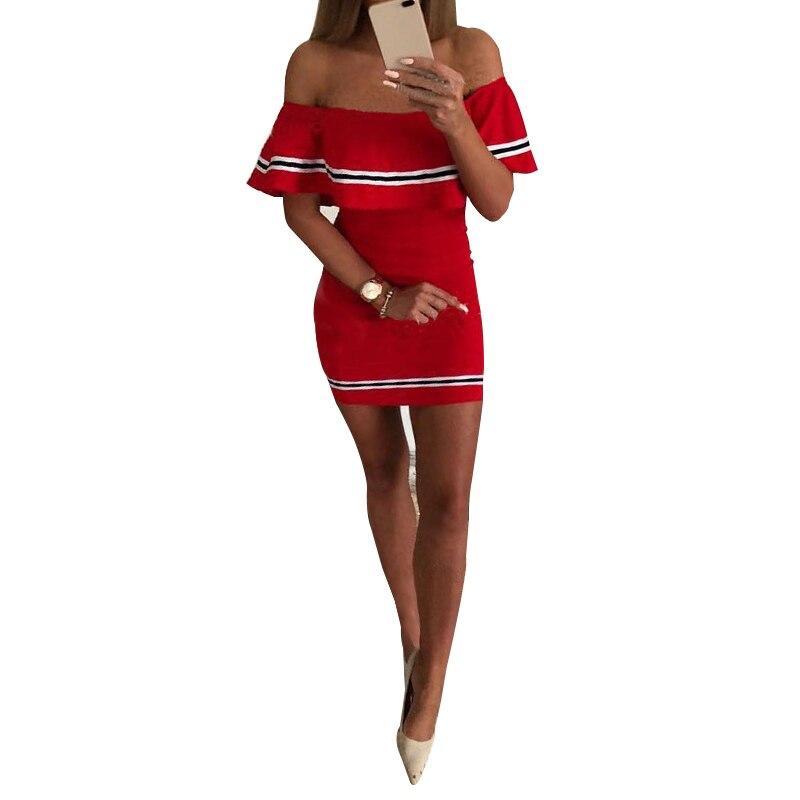 2018 Summer Sexy Off Shoulder Bodycon Dresses Ruffles Short Sleeve Mini Dress Women's Night Club Party Dresses WS9291V