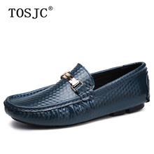 цена TOSJC Men Casual Embossing Loafers Genuine Leather Metal Buckle Driving Shoes Breathable Slip on Flat Moccasins for Men Business онлайн в 2017 году