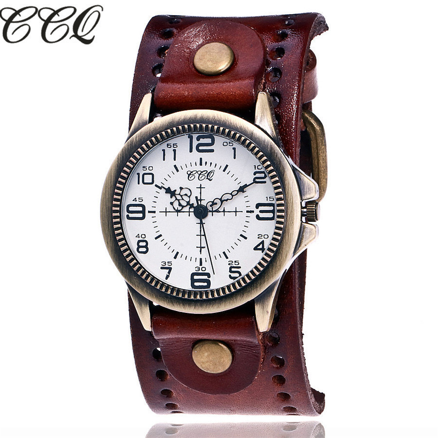 CCQ Brand Fashion Vintage Cow Leather Quartz Watches Women Bronze Sight Dial Casual Dress Wristwatch Clock Relogio Feminino