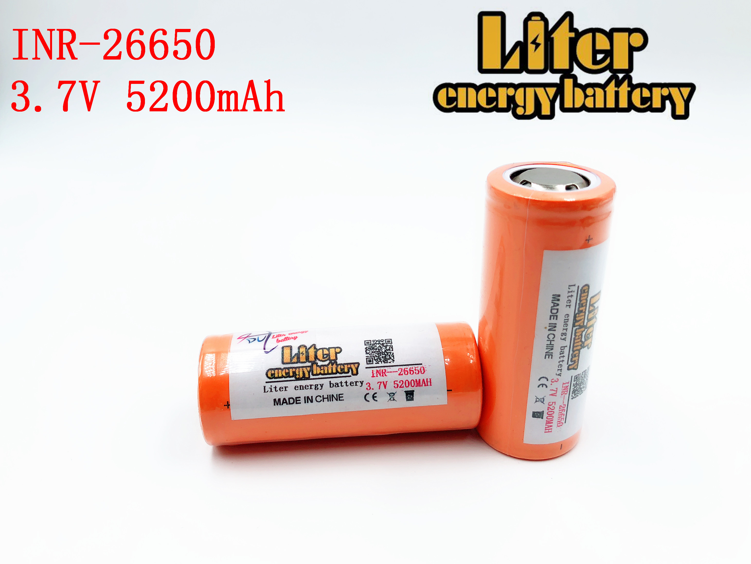 26650 rechargeable battery, <font><b>26650A</b></font> lithium battery, 3.7V 5200mA 26650-50A blue. Suitable for flashlight image