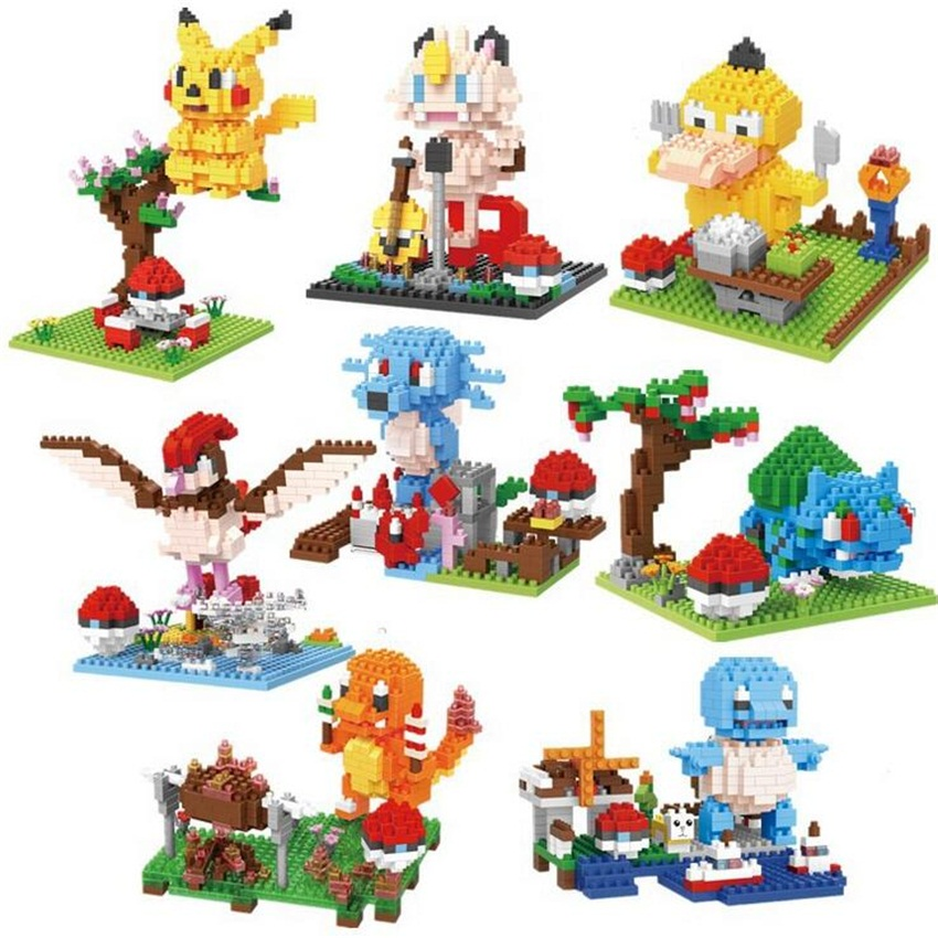 Squirtle Diamond blocks Mewtwo DIY Building Toys Bulbasaur Cartoon Micro Bricks Charmander Anime Toys Psyduck Figures 9549-9556 loz diamond blocks figuras classic anime figures toys captain football player blocks i block fun toys ideas nano bricks 9548