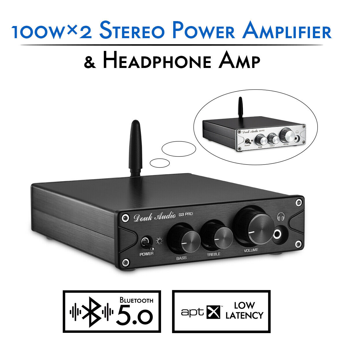 Nobsound HiFi TPA3116 Bluetooth 5.0 APTX ES9018K2M DAC Stereo Class D Power Amplifier Headphone Amp 100W*2