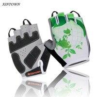 XINTOWNขี่จักรยานครึ่งถุงมือจักรยานทีมถุงมือสีเขียวกันกระแทกGELกีฬาครึ่งนิ้วถุงมือSkidproofถุงมือข...