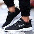 Мода Мужская Повседневная Обувь Воздуха Сетки Холст Тренеров для Мужчин открытый Спорт Дышащий Мужской Обуви Квартиры Большой Размер Черный 45 46