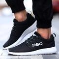Moda Zapatos Casuales Para Hombre Air Mesh Lienzo Formadores para Los Hombres Deporte al aire libre Zapatos Transpirables Hombres Pisos Tamaño Grande Negro 45 46