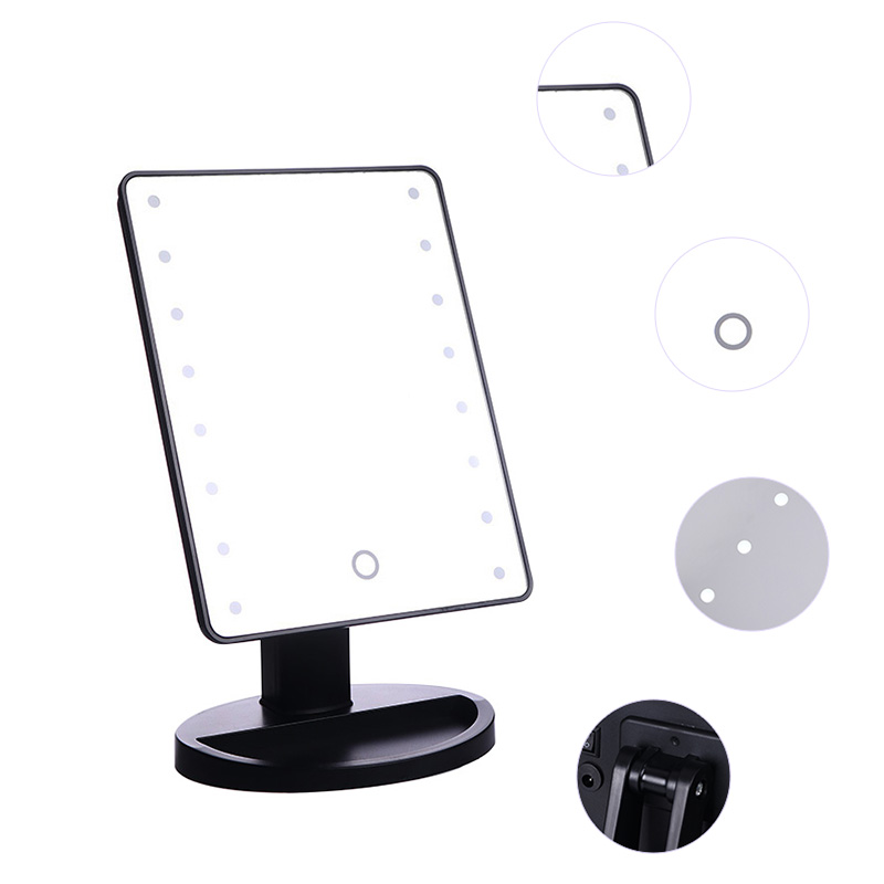 16 Leds Lighted Makeup Mirror Adjustable Touch Screen Portable
