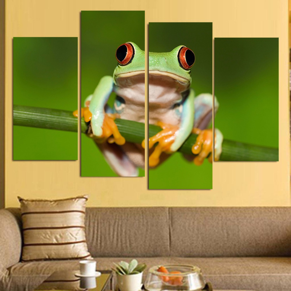 Canvas Living Room HD Printed Pictures Home Decor 4 Piece/Pcs Frog ...