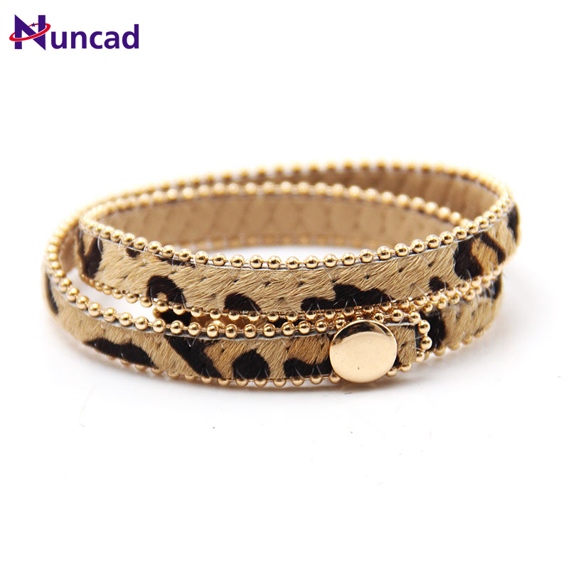Button Bracelet Fur-Cloth Leopard-Print Multicolor Fine-Gifts Women for Adjust New-Pattern