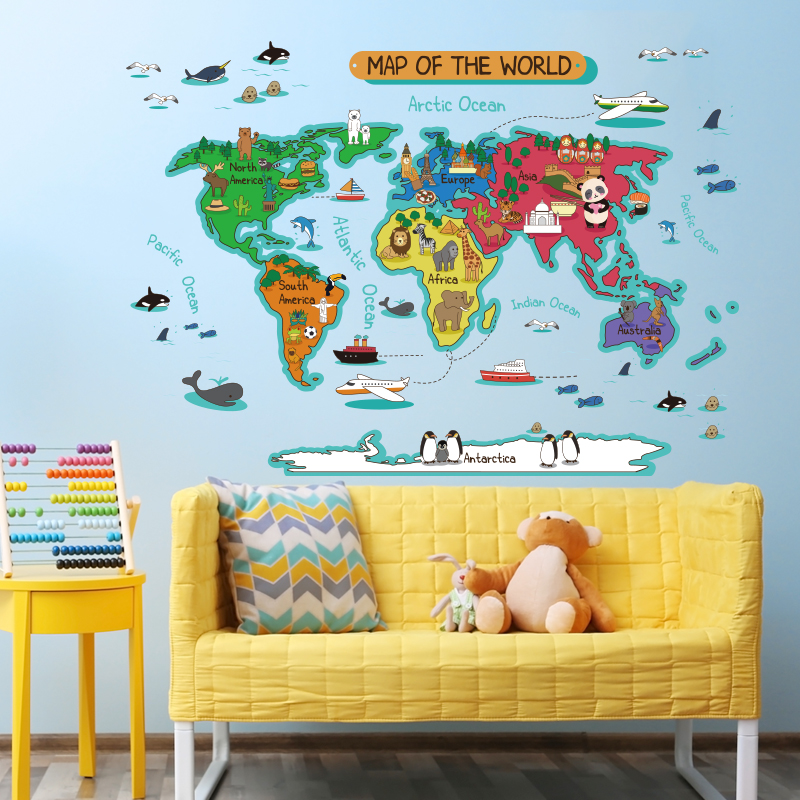 Symbol Of The Brand Sea Blue Theme 26 Alphabet Wall Stickers Boys Decal Kids Nursery Decor Gift Art Home & Garden