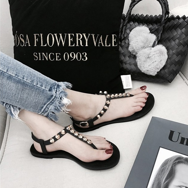 Us11 Gladiator Women Flats Flipflops Strap Slippers Beach T punk Femme 20Off Jelly Sandales Roman Studded Rivets 68 In Shoes Sandals oBerCdxW