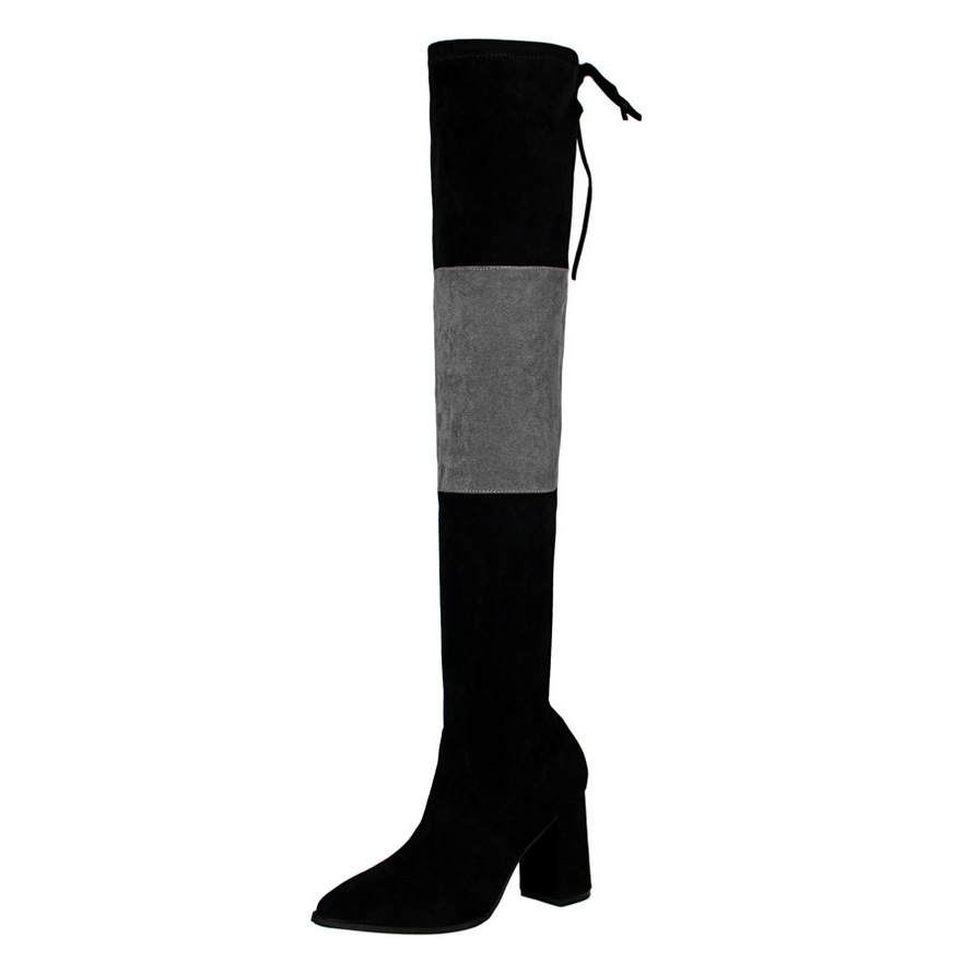 Europe United States Women black-Grey thick high heeled suede pointed sexy night shop was thin pedicure knee boots ladies shoes europe and the united states new handsome british wind pointed thick boots snake belt buckle especially exquisite single boot