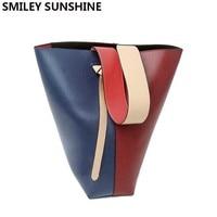 SMILEY SUNSHINE Fashion Genuine Cow Leather Women Bucket Bag Luxury Ladies Panelled Shoulder Bag Female sac a main femme de