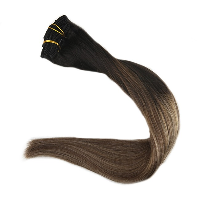 Full Shine Ombre Balayage Remy Human Hair Clip In Extensions 100g