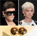 gold  plated big round stud earring models catwalk models  simple half spherical mirror shine earring for women