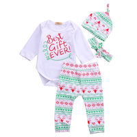 4PCS Baby Boy Girl Christmas Gift Outfits Romper Deer Pants Legging Clothes Set Newborn Baby Clothes