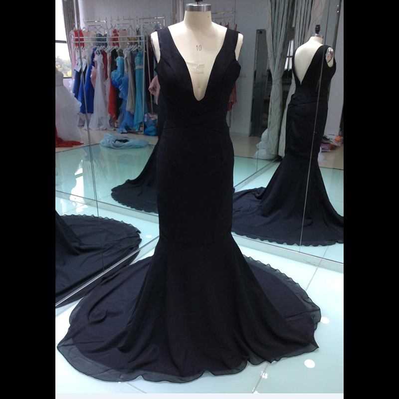 2019 Cheap New Real Sample Photo Black Prom Dress Sexy Long Formal Evening Party Gown Plus Size Custom Made Size 8 10 12