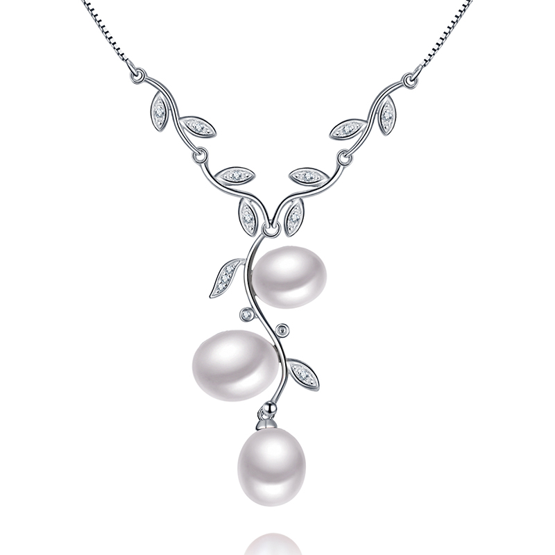 цена на Sinya Natural freshwater Pearls Necklace 925 sterling silver choker fine jewelry via 3pcs AAAAA Freshwater pearls gift for women