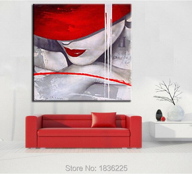 Meilleures ventes Produits Sexy Lèvres Rouges Filles Photos Original Peint À La Main Toile Peinture À L'huile pour la Décoration Murale Rouge Chapeau Peinture