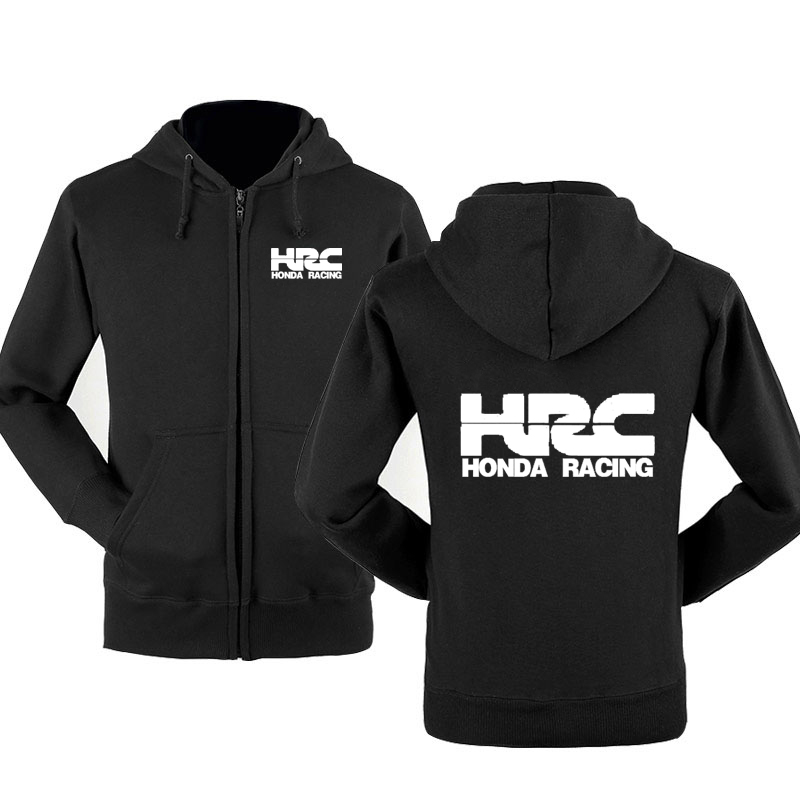 HRC Race Motorcycle Car Logo Sweatshirt Hoodies Men Spring Autumn Fleece Cotton Zipper Jacket HipHop Harajuku Male Clothing