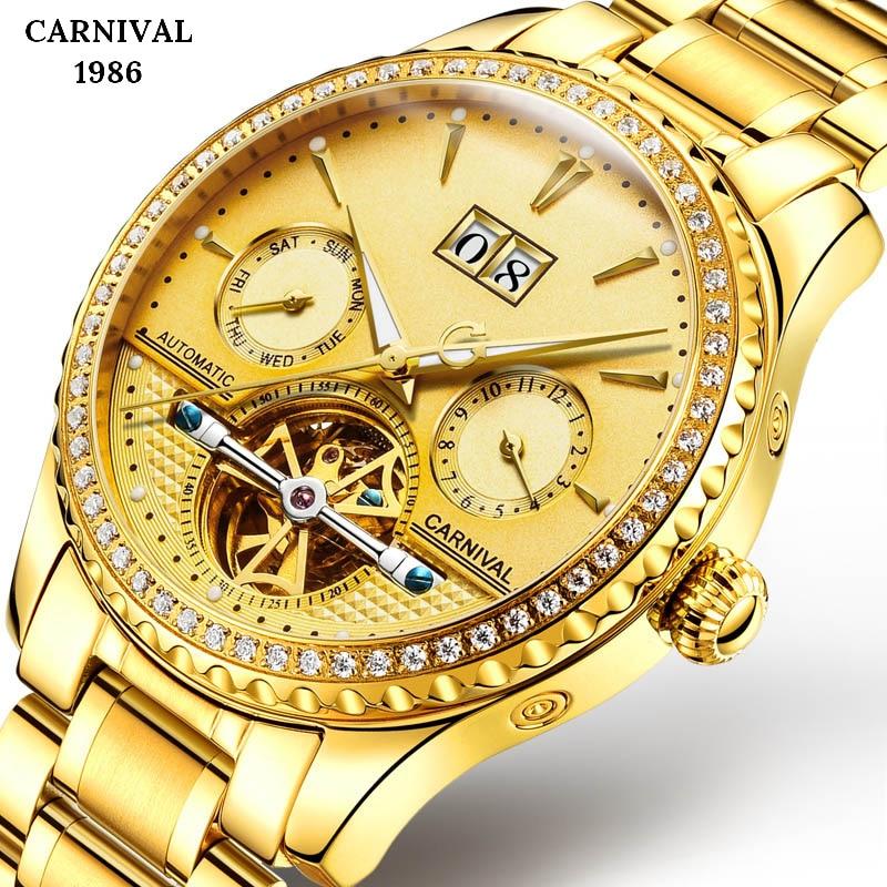 Relogio Masculino Men Gold Watch Luxury Watches 3ATM Waterproof Steel Clock Tourbillon Mechanical Business Saphire Watch