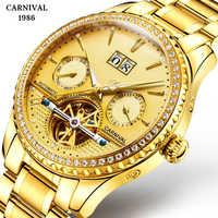 Relogio Masculino Men Gold Watch Luxury Watches 3ATM Waterproof Steel Clock Tourbillon Mechanical Business Saphire Watch 2019