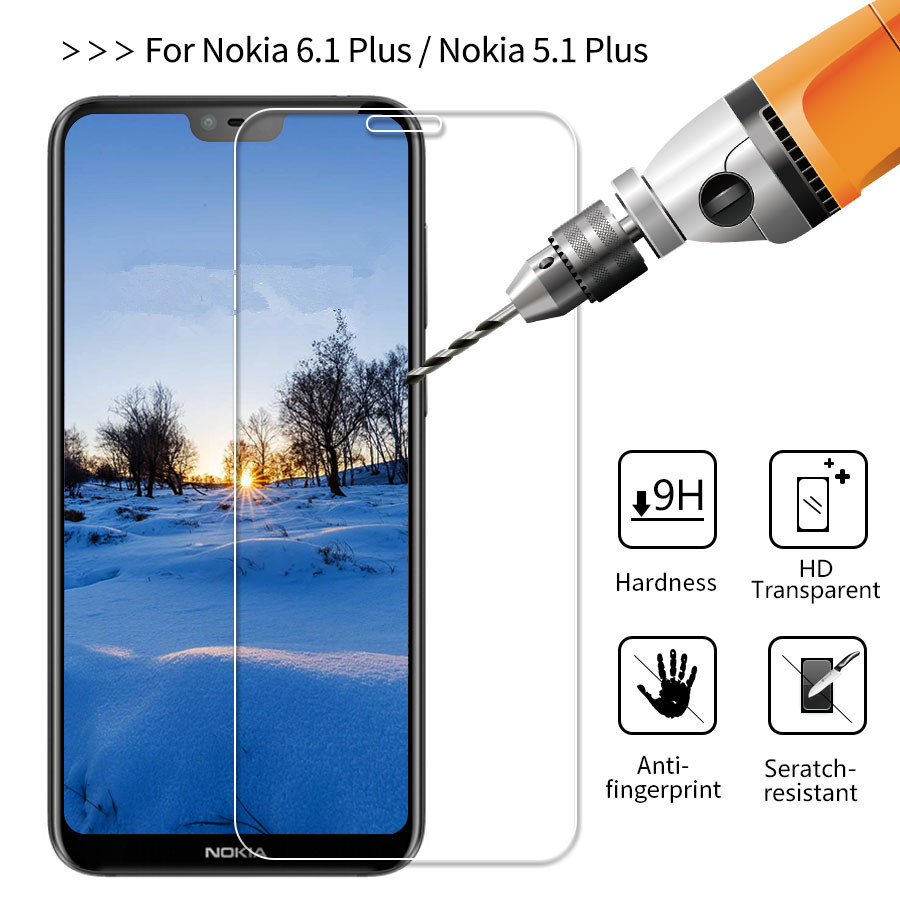 10pcs/lot Tempered Glass For Nokia 6.1 Plus (Nokia X6) Screen Protector 9H Phone Glass For Nokia 5.1 Plus (Nokia X5) Cover Film