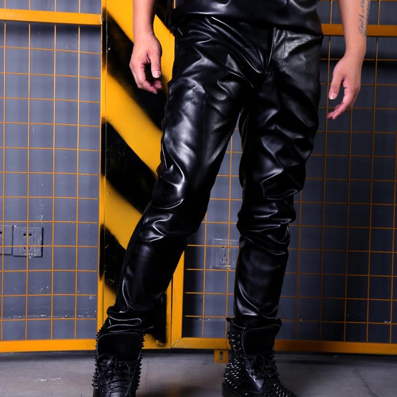 Mode Hip Hop Rock Punk Slim Fit PU cuir pantalon hommes scène vêtements peuvent être faits hommes décontracté cuir moto pantalon mâle