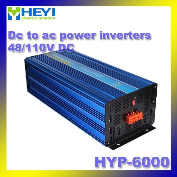48 V/110 V HYP-6000 50/60Hz dc à l'inverseur de courant alternatif à démarrage progressif inverseur de puissance à faible bruit de travail onduleur à onde sinusoïdale